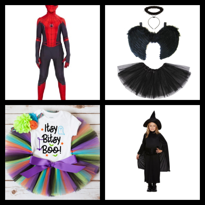 halloween at Etsy, affordable costumes for kids, spiderman, black angel, baby tutu and witch