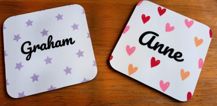two placements to match the mugs with the names Anne and Graham on them