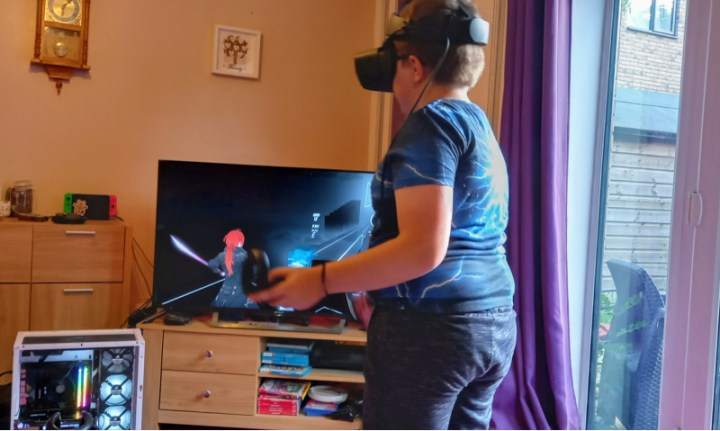 The Little Man playing a Virtual Reality game
