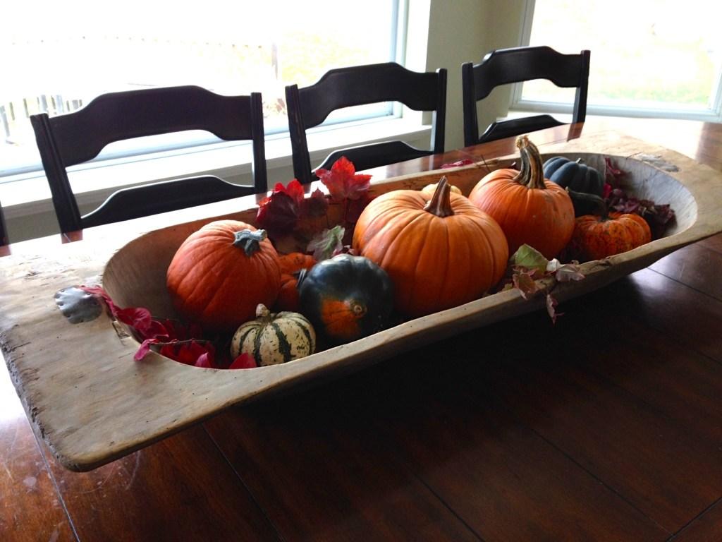 November pumpkin display dough bowl
