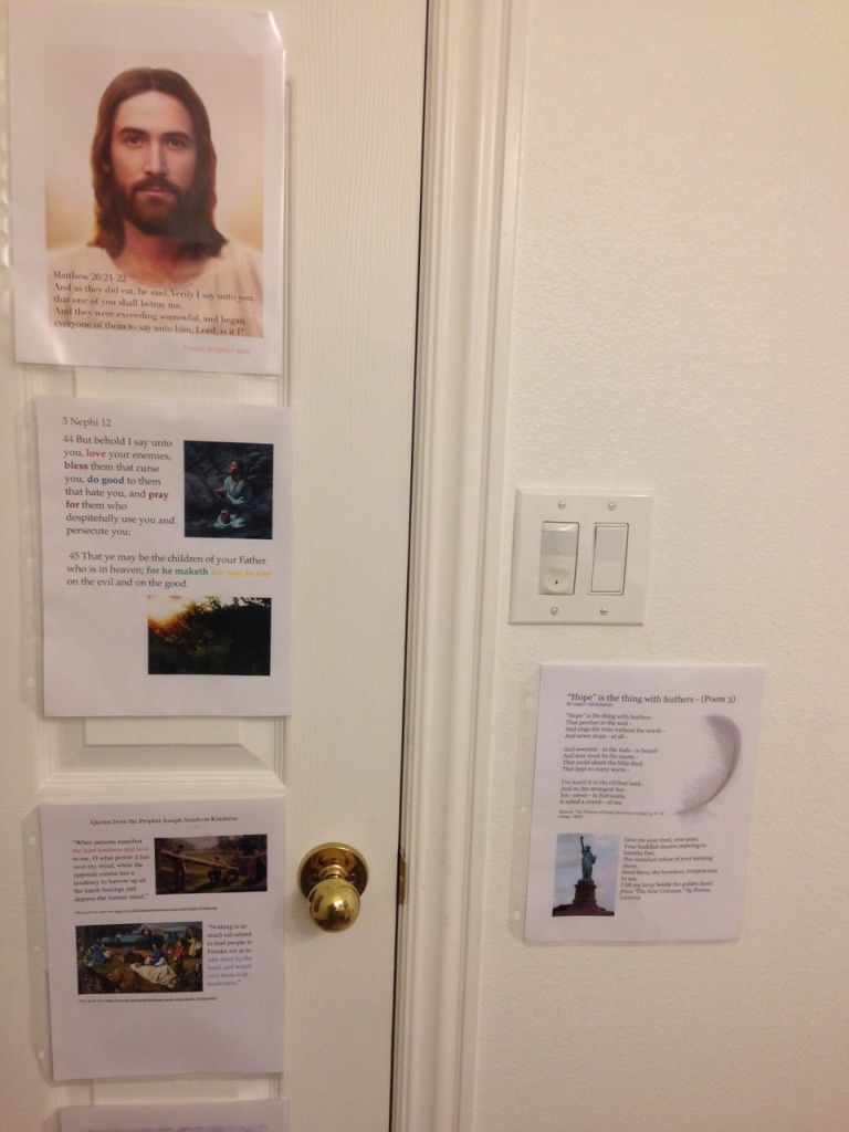 Scripture memorization on bathroom door