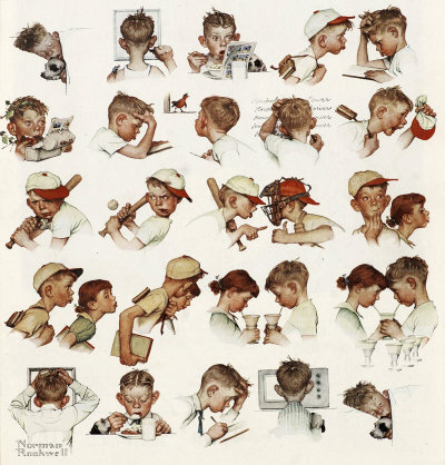 Day in Life of Little Boy Norman Rockwell