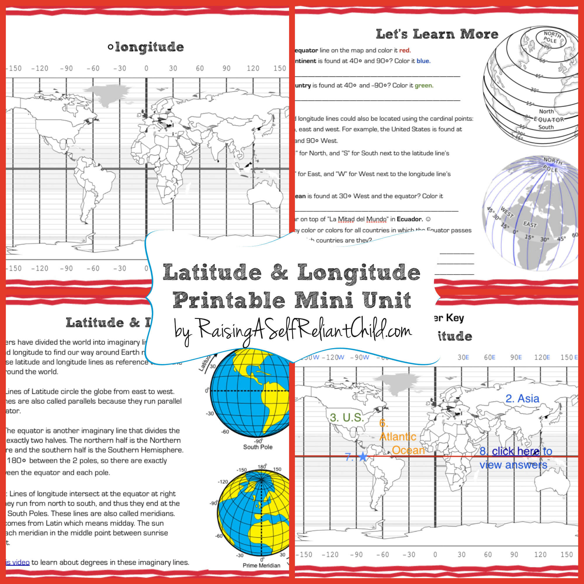 Free Printable Mini Unit Latitude And Longitude For Kids
