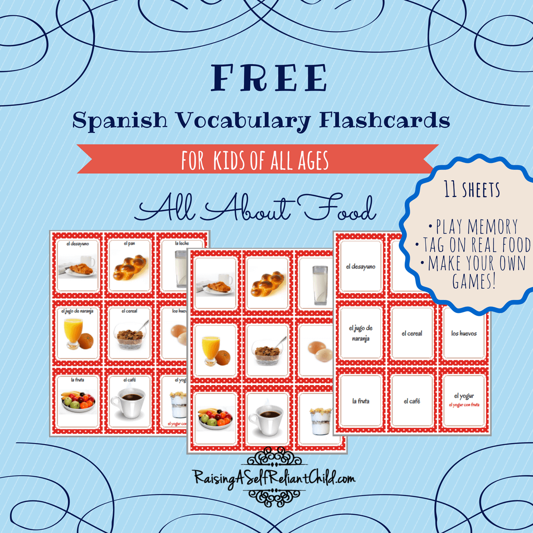Free Printable Spanish Vocabulary Flashcards Common Foods
