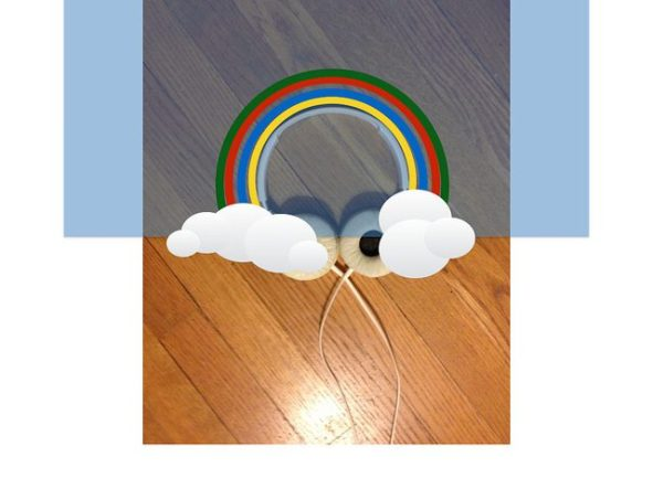 rainbow with clouds at either end, and earphones at each cloud