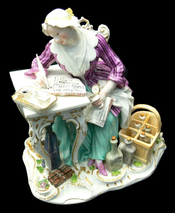 Female merchant writing, Meissen porcelain sculpture