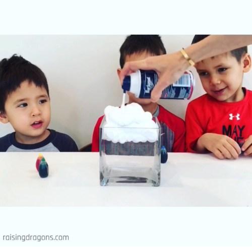 Shaving Cream Rain Clouds Science Experiment