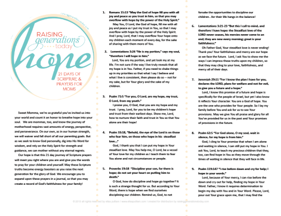 Hope: 21 Days of Scriptures & Prayers for Moms