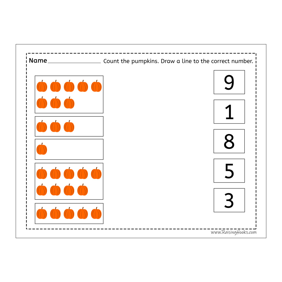 Counting Pumpkins Line To Number