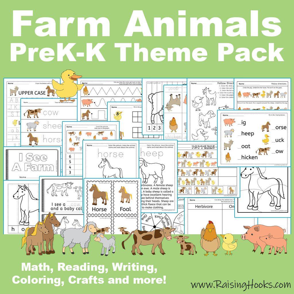 Farm Animal Prek K Theme Pack