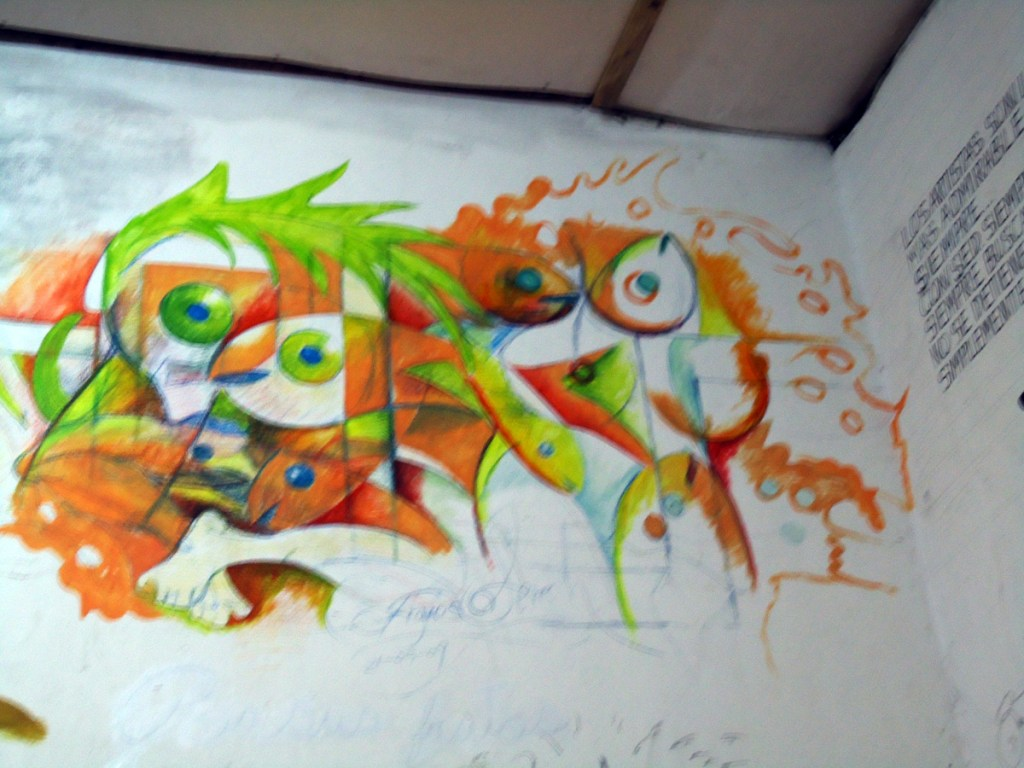 Mural detail, unfinished portion