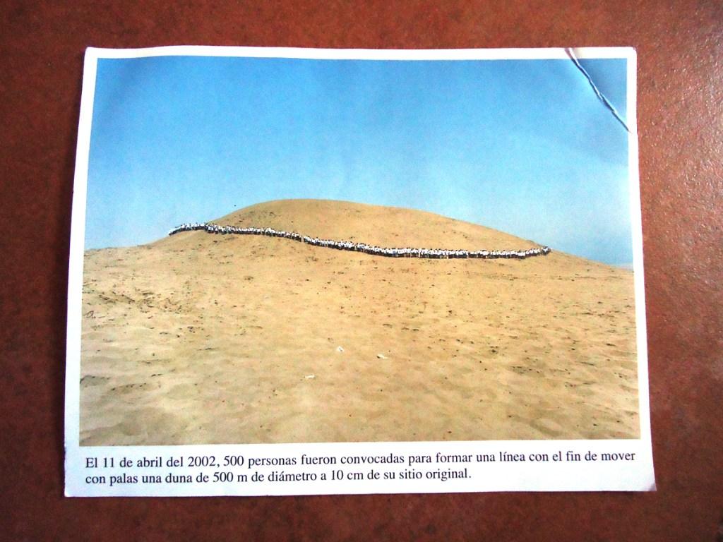 Shifting a sand dune in Peru
