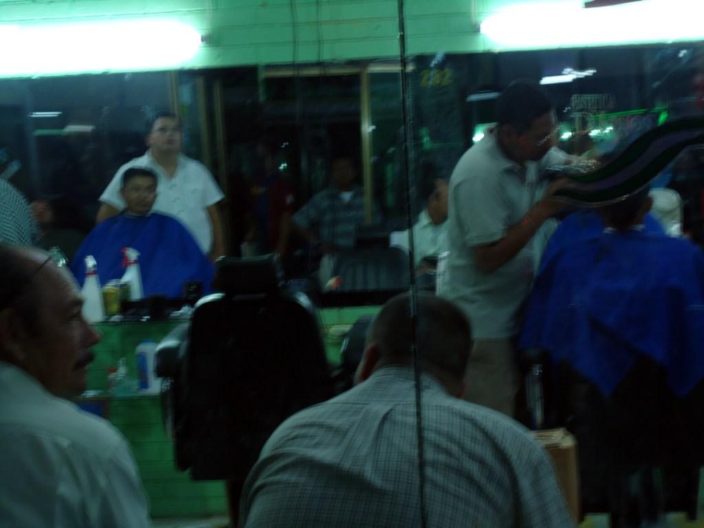 Scene in a Guatemalan barber shop