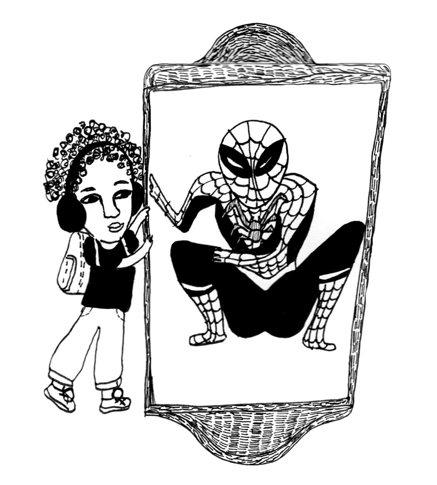 On Mirrors, Mourning and Miles Morales | an essay by Camille Wanliss Ortiz | Illustration of a child holding a mirror with a crouching Black Spider-Man (from Into the Spidey-Verse) looking back at the person holding the mirror. Illustration by Lisa Lim for Raising Mothers