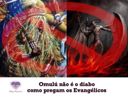 """imagem do orixá omulú ao lado da imagem do diabo com os dizeres: """"Omulú não é o diabo como pregam os evangélicos"""""""