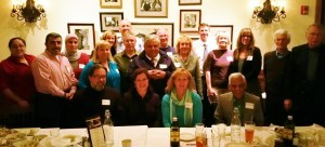 "Some of the ""Faith Forum"" panelists, their spouses and others at a recent dinner celebrating the completion of 200th column."