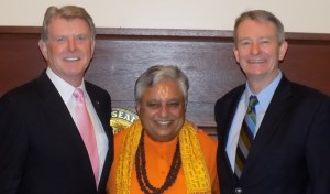 "Hindu statesman Rajan Zed (middle) with Governor C. L. ""Butch"" Otter (left) and Lieutenant Governor Brad Little (right) just before opening the Idaho Senate with its first Hindu prayer on March three."