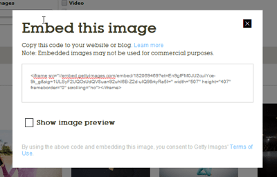 The HTML code required to display the image