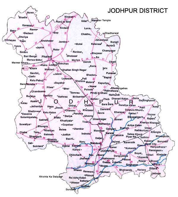 Map Of Jodhpur Jodhpur District Map   View Jodhpur District Road Map of Jodhpur