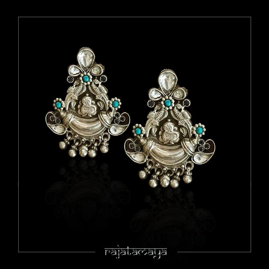 Kundan Ganesha Silver Earrings