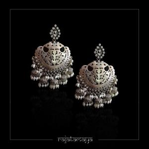 Statement Silver Earrings with multi Jhumka hangings and Pearls