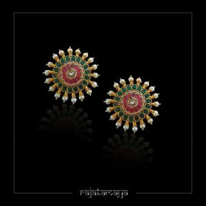Pink and Green Kundan statement studs with pearls