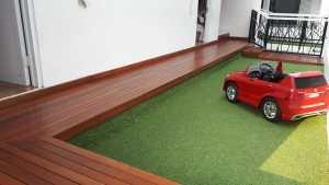 Pemasangan Lantai kayu Decking rumah pasha ungu