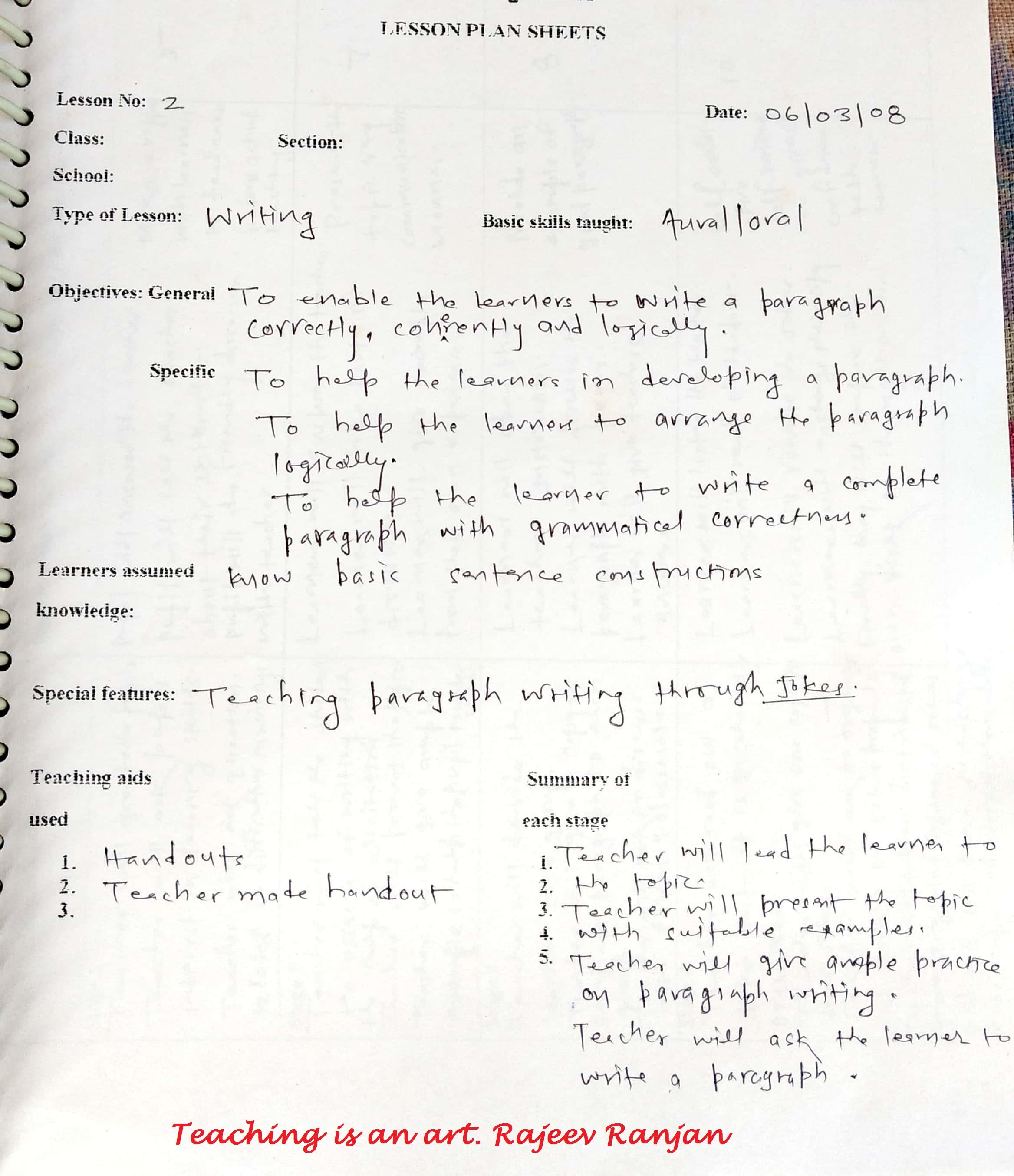 Planning A Lesson English Language Teaching Developing Writing Skill Example School Education