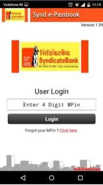 Login to Syndicate Bank e-passbook Android Application