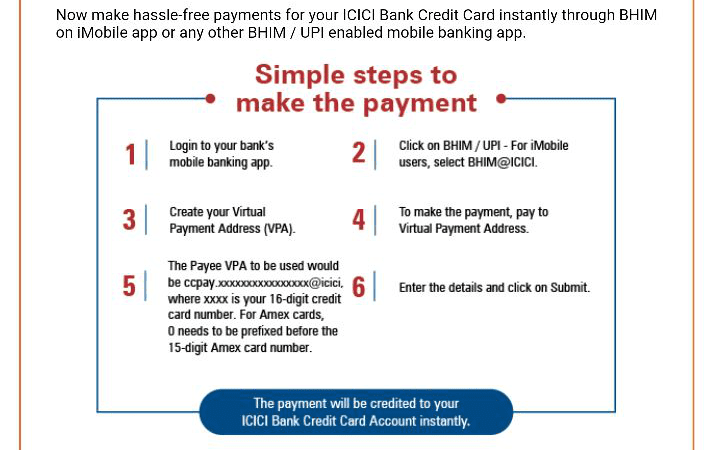 How To Pay ICICI Bank Credit Card Dues Through UPI BHIM ?