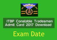 itbp tradesmen admit card