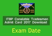 itbp tradesmen admit card