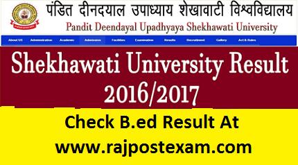 shekhawati university b.ed result 2017