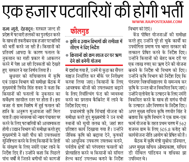 Uttarakhand Patwari Recruitment 2018