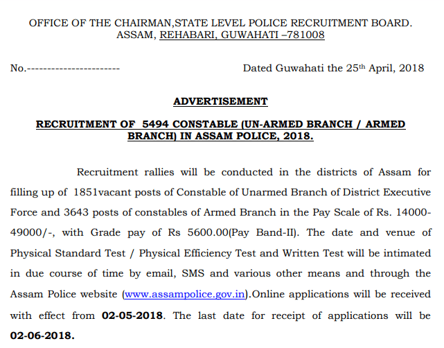 Assam Police Recruitment 2018