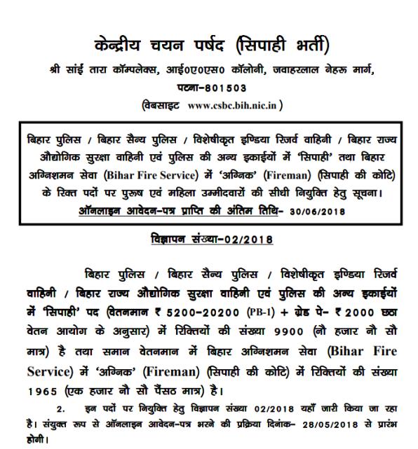 Bihar Police Online Form Fillup