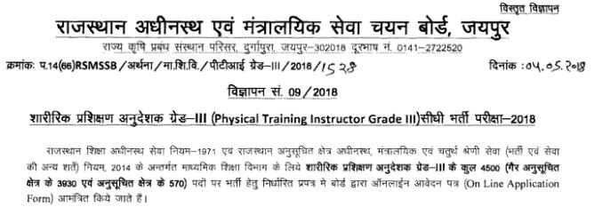 RSMSSB Physical Training Instructor Recruitment