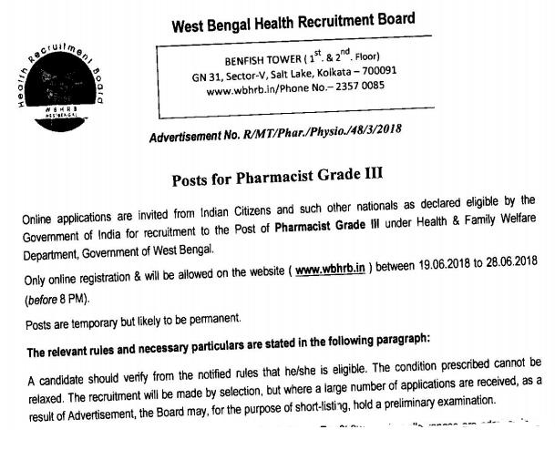 WBHRB Pharmacist Recruitment