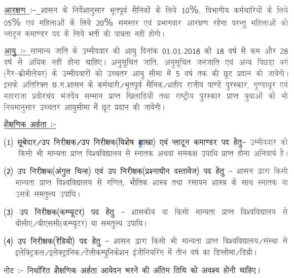 CG Police Sub Inspector Recruitment