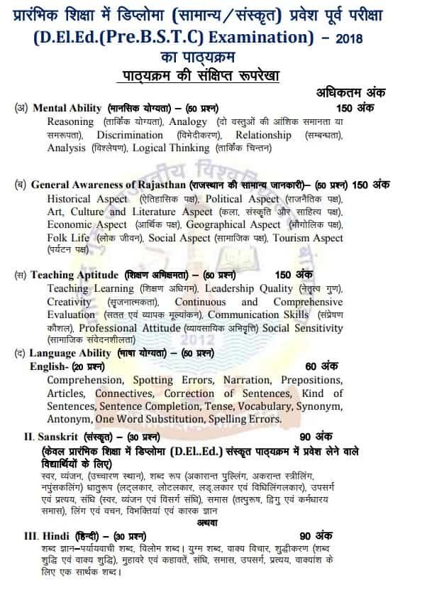 Rajasthan BSTC 2019 Syllabus