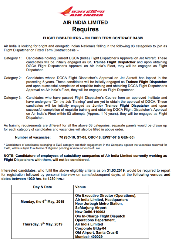 Air India Walk In Interview Recruitment