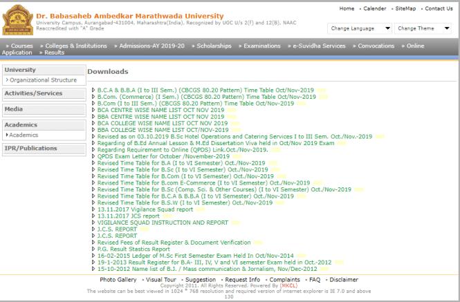 BAMU University Time Table