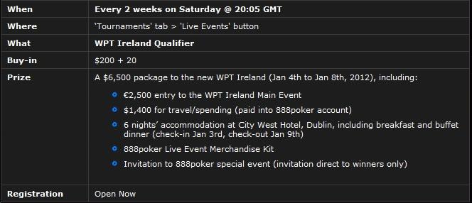 888Poker WPT Dublin Qualifying Dates & Prize Details