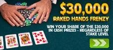 Betfair July $30K Raked Hands Frenzy