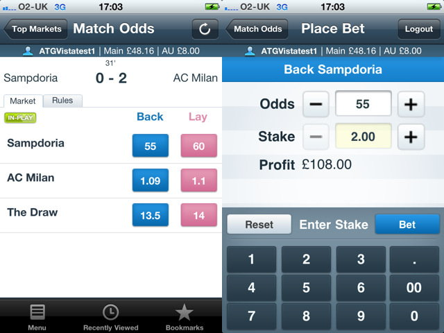 Betfair iPhone App screen shots.