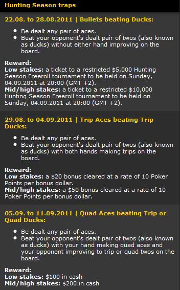 bwin Poker Hunting Season Details