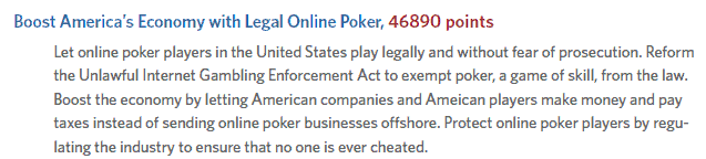 Online Poker Entry in Obama's Citizen's Briefing Book