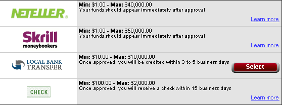 Full Tilt Poker Withdrawal Options
