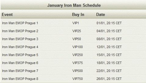 Noiq Poker January Iron Man Schedule