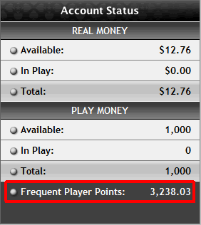 PokerStars FPP points total in cashier.
